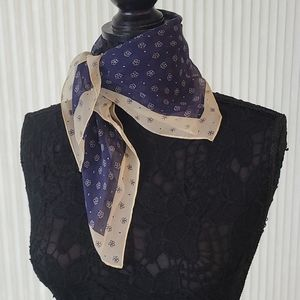 Flower on Framed Blue and Yellow Square Scarf